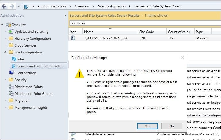 Uninstall SCCM Management Point