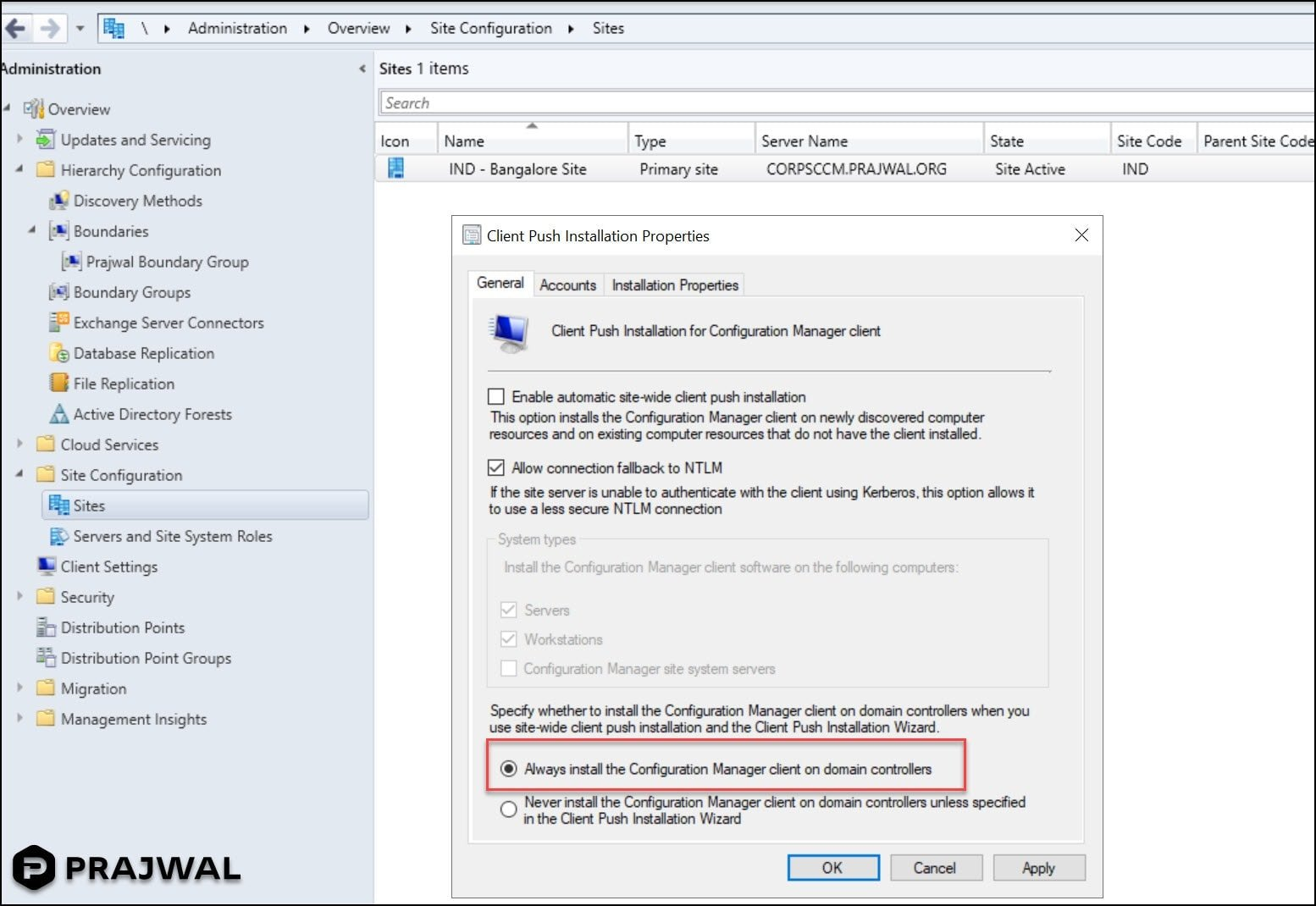Always install the Configuration Manager client on domain controllers
