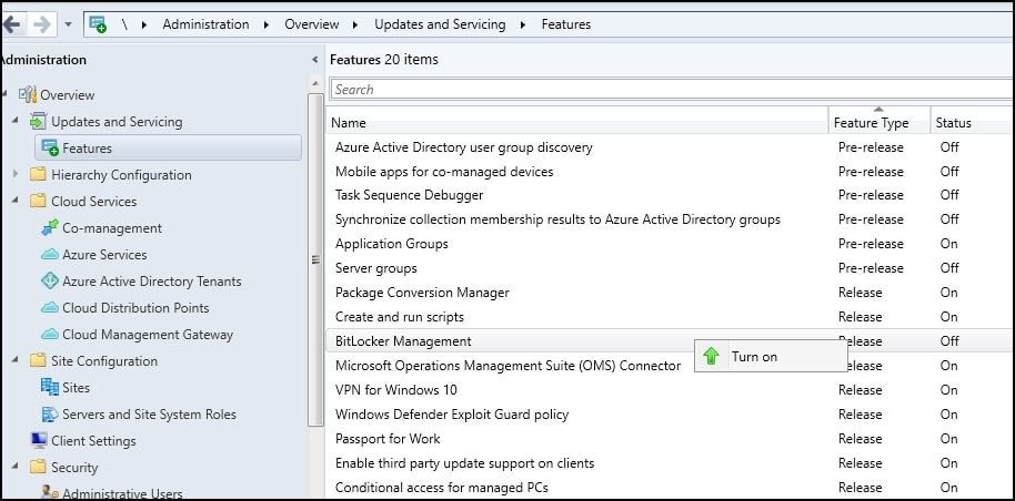 How to Enable Pre-Release Features in SCCM