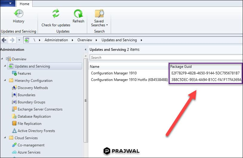 How to find the Package GUID of SCCM Update