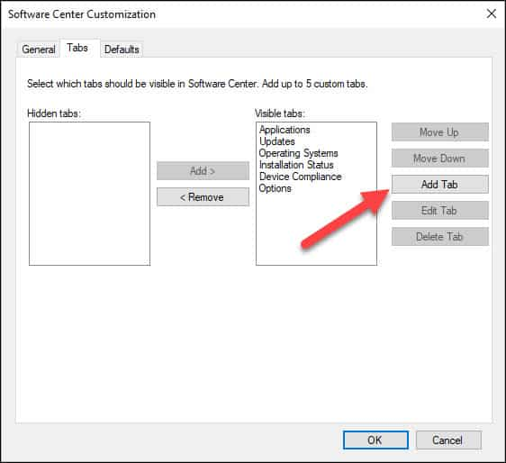 Add Custom Tab in Software Center