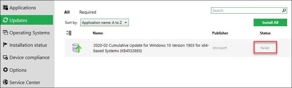 Software Updates Installation failed