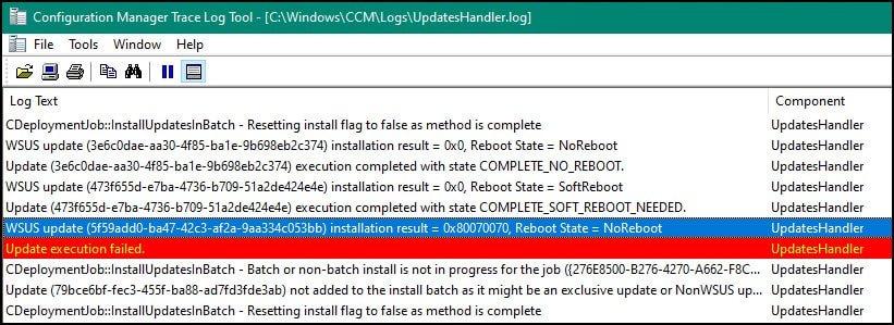SCCM Updates Error 0x80070070