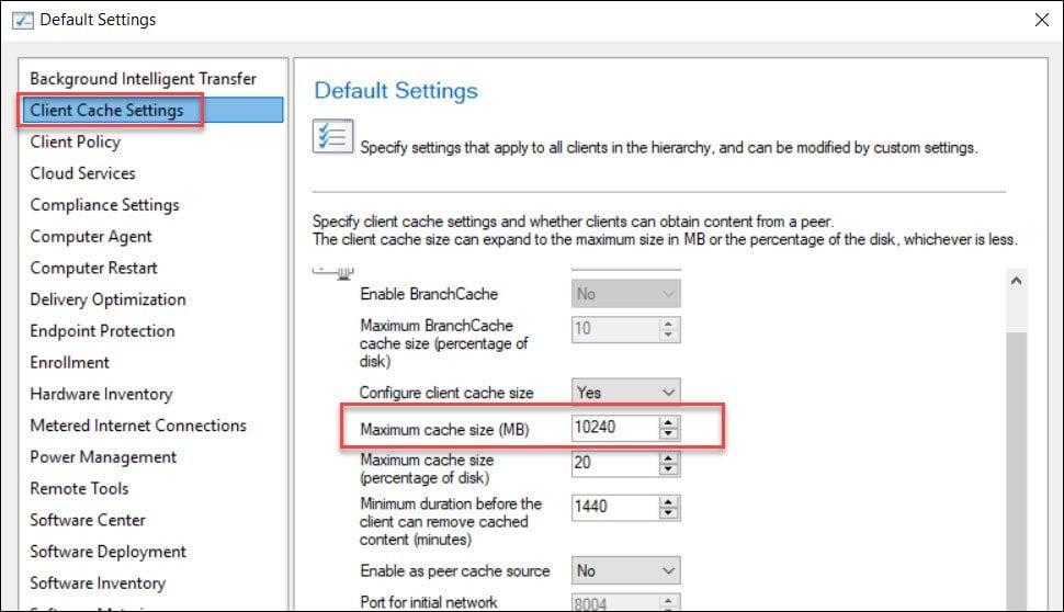 Configure Client Cache Settings in SCCM