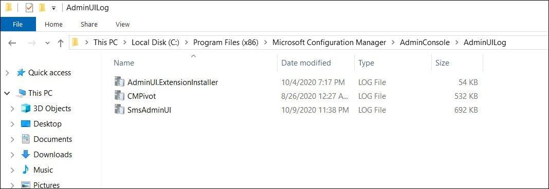 SCCM Admin Console Logs