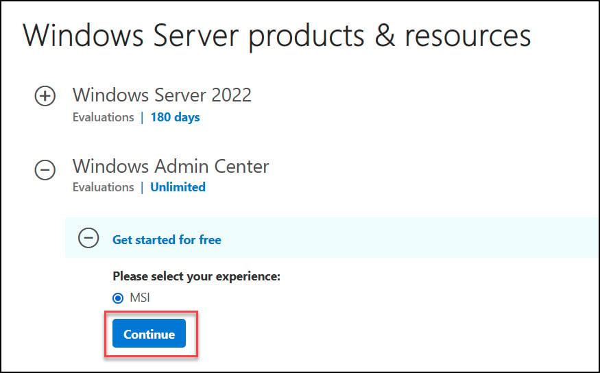 Download Windows Admin Center