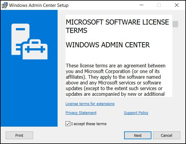 Download and Install Windows Admin Center