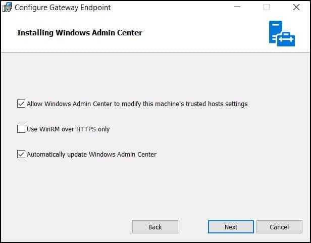 Install Windows Admin Center