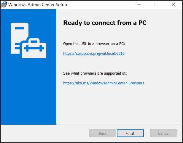 Windows Admin Center installed