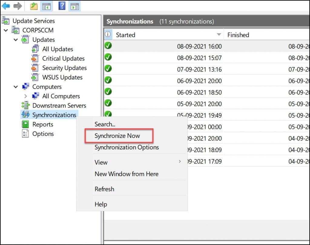 Synchronize Updates in WSUS