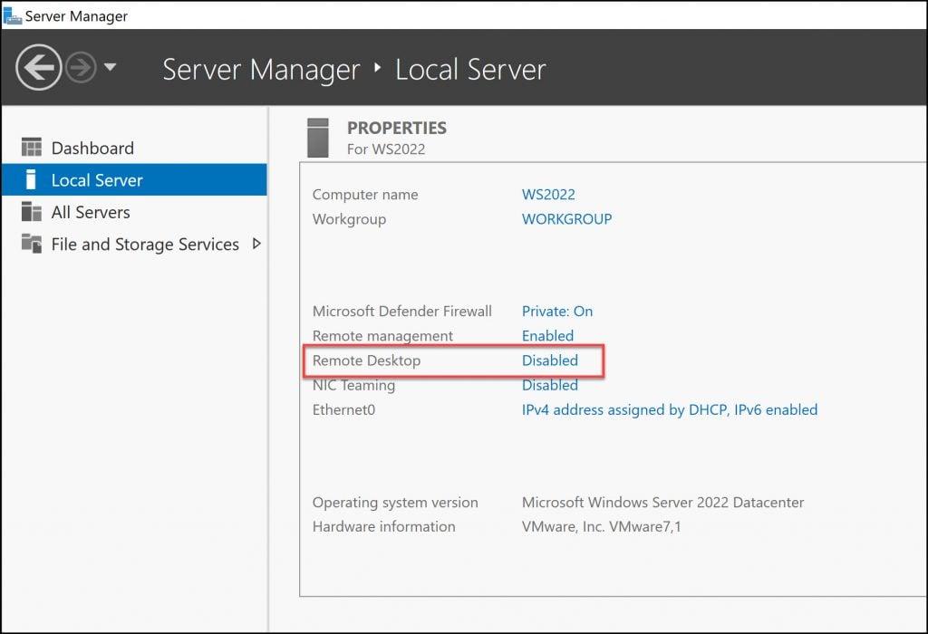 Enable Remote Desktop in Windows Server 2022