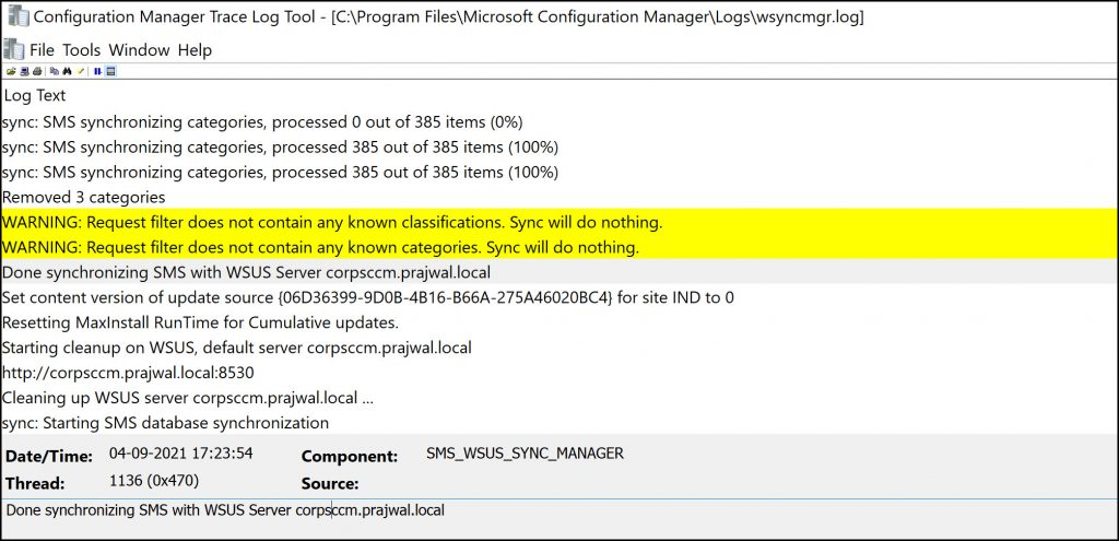 WSUS Sync Does not contain any known products classifications