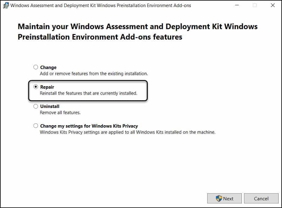 Windows PE add-on